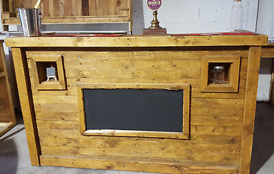 Rustic Wooden Mobile Bar 189 Cm Plus Back Bar Perfect For Weddings Events