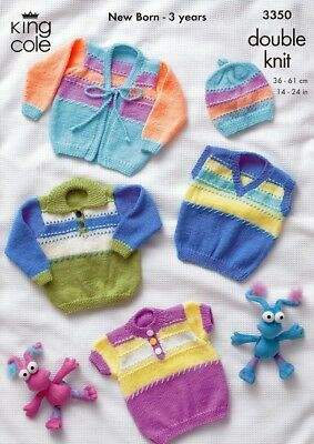 King Cole Baby Sweaters & Cardigans Comfort Knitting Pattern 3350 DK (KC...