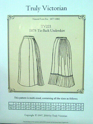 TRULY VICTORIAN TV221 sewing pattern for 1878 Tie Back underskirt ...