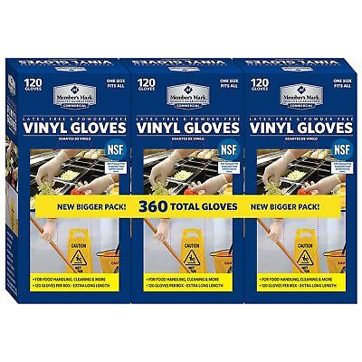 3 Pack Member's Mark Commercial Disposable Latex-Free Vinyl Gloves 120 gloves ea