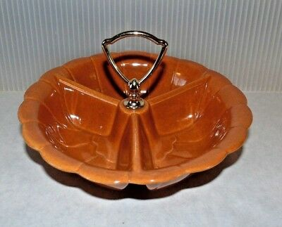 Mid Century Vintage USA Pottery 370 Rust Brown Divided Relish Dish