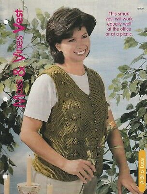 LS002 KNITTING PATTERN LADIES ROUND NECK SWEATER WITH MOSS STITCH V INSERT