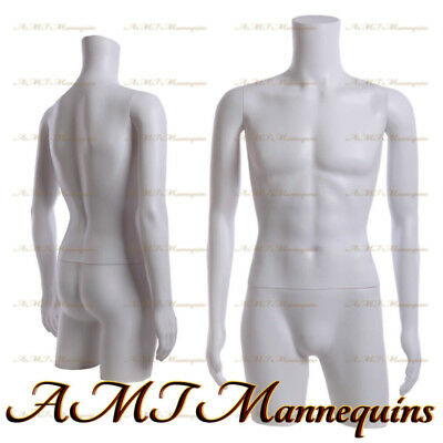 Male Mannequin dress form with rotated arms, hips - White plastic Torso MT-2W