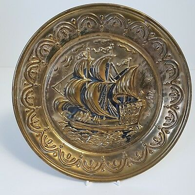"""Vintage Brass Tall Ship Wall Hanging Plaque Chimney Flue Cover Nautical 9-7/8"""""""