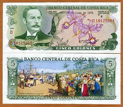 Costa Rica, 5 Colones, 9-6-1975, P-236c, UNC -> colorful