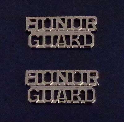 2 HONOR GUARD collar/lapel pins SILVER letters/lettering (police/sheriff/fire)