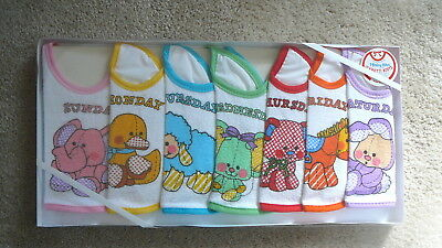CONFETTI KNITS Vintage 1990 NOS DAY OF WEEK -7 TERRY BABY BIBS SHOWER GIFT NOS