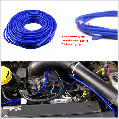5M ID 8mm OD 12mm 2mm Thickness Silicone Vacuum Tube Hose Silicone Tubing Blue