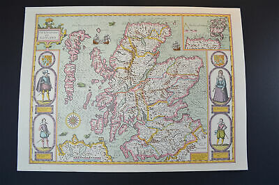 Vintage decorative sheet map of Scotland Orkney John Speede 1610
