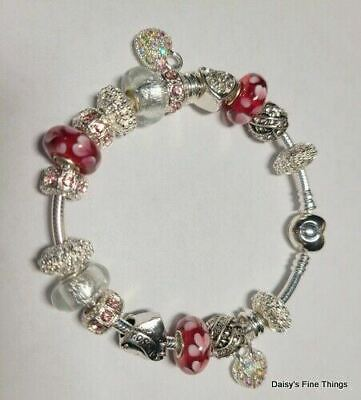 """Authentic Pandora Bracelet With Charms  Pink Hearts """"i Love You"""" Box Choice"""