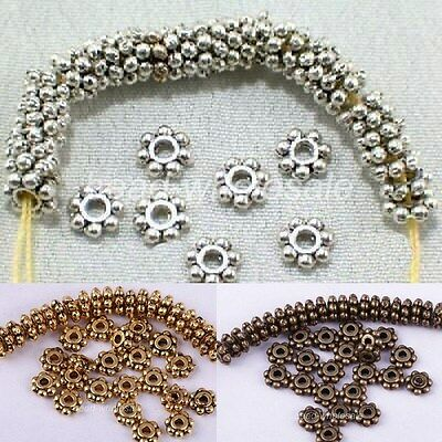Wholesale 100/1000Pc Tibetan Silver Daisy Spacer Beads Jewelry Making 4/6MM/Xmas