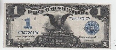 Silver Certificate $1 1899 Black Eagle vf stain small piece missing at bottom