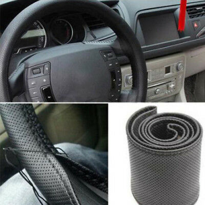 Faux Leather Car Auto Steering Wheel Cover Protector with Needle Thread Kit Cool