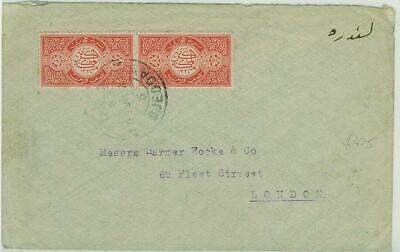 SG 14  ½pi red Pair on cover. Port Taufio 26/11/1919 backstamp.