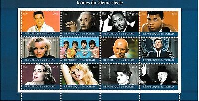 Chad 7312 - 2018 ICONS of 29th CENTURY perf sheet of 12  unmounted mint