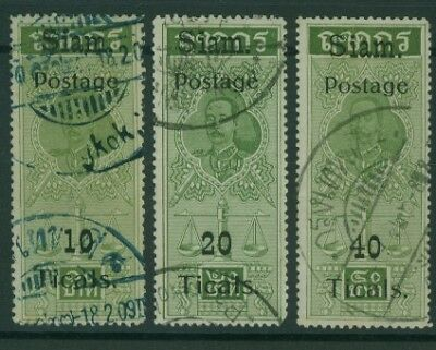 SG 106-8  1907 Provisional Fiscal  Set of 3 Siriwong 108/10 FU