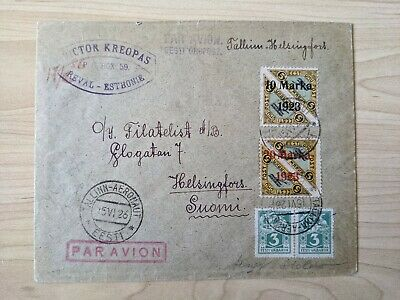 Airmail cover to Finland with 40 copies of Mi #16.on back Cancel