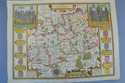 Vintage decorative sheet map of Surrey John Speede 1610