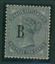 SG  7 British P.O. in Siam 10c slate Mint EXPERTIZED ON BACK,