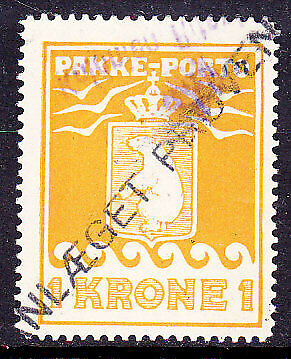 SG P14 Parcel Post Stamp 1k yellow perf 11½ Used.