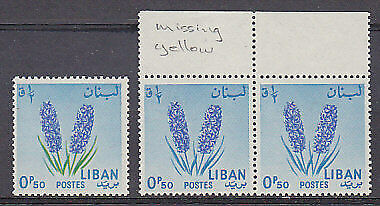 SG 811  0p.50 Blue grn Flower Missing yellow (green leaves) Pair