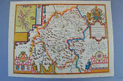 Vintage decorative sheet map of Westmoreland John Speede 1610