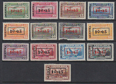 SG 389/401  Official Air stamps optd 1945 and optd Specimen MLH