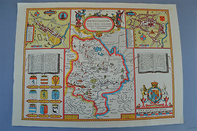 Vintage decorative sheet map of Huntington John Speede 1610