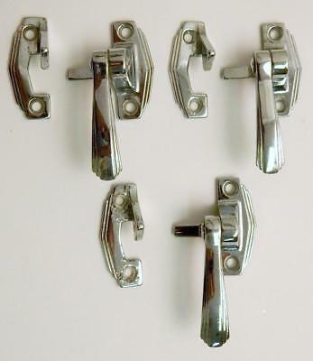 3 Vintage Chrome Hoosier Cabinet Cupboard Door Latches with Keepers