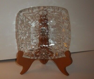 Vintage Clear Glass Square Candy Dish/ Bowl 6 1/2""