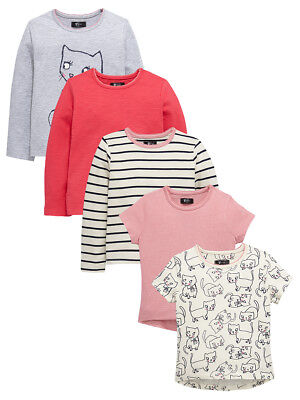 Mini V by Very Girls Pack of Five T-shirts in Multi Size 9-12 Months