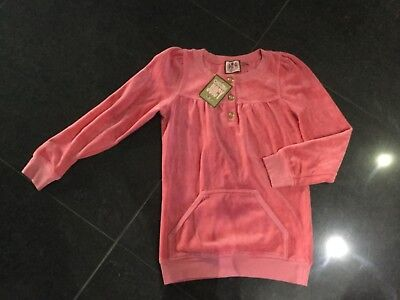 NWT Juicy Couture New & Genuine Girls Age 8 Pink Velour Top With Gold Buttons