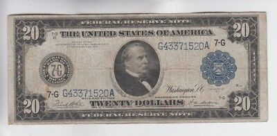 Federal Reserve Note $20 1914 vg-fine stains