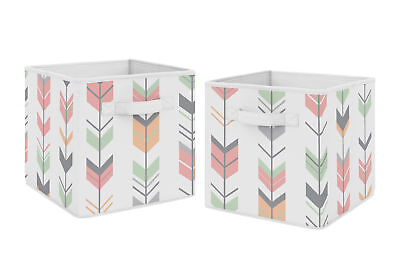Coral Mint Woodland Mod Arrow Foldable Fabric Storage Cube Bins Boxes - 2pc Set