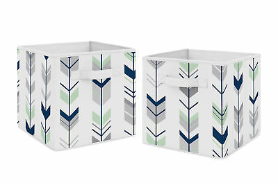 Navy Mint Woodland Mod Arrow Foldable Fabric Storage Cube Bins Boxes - 2pc Set