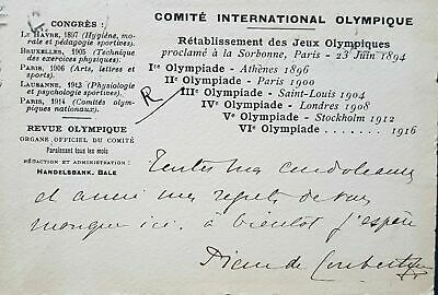 Official Olympic Committee postcard from Sweden to Paris dated 7