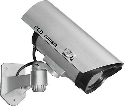 Realistic Dummy Fake CCTV Security Camera with Flashing Red LED and Warning Sign