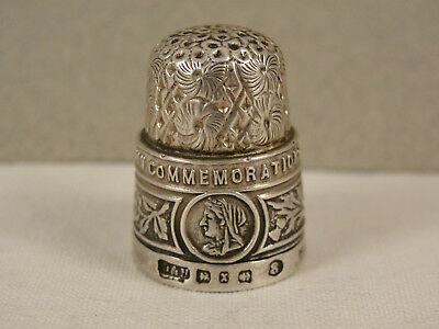 Queen Victoria Diamond Jubilee COMMEMORATION SILVER THIMBLE. Hallmarked 1897