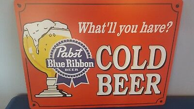 (L@@k) Pabst Blue Ribbon Cold Beer Tin Sign Man Cave Game Room Pbr Mint New