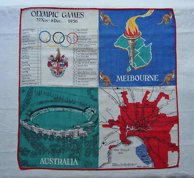 Original 1956 Olympic games Melbourne Australia Silk Cloth (Vintage)