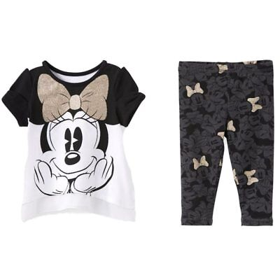 Disney Infant Girls Minnie Mouse Gold Glitter Bow Baby Outfit Shirt & Leggings