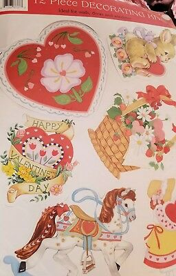 Vintage-New Old Stock! Eureka Valentine 12Pc❤Decorating Kit-Lovely Cute Diecuts!