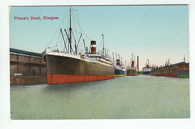 Steamers Prince's Dock Glasgow Early 1900's Old Postcard Postally Unused