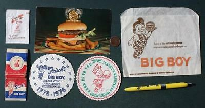 1960-70s Era Frisch's Big Boy Restaurant 7 piece set-Sugar Pack-Coaster-Pen-MORE