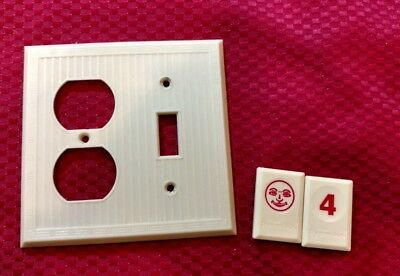 1 Ivory Vtg Ribbed Deco Border 2 Gang Outlet Switch Combination Cover Plate RJ4