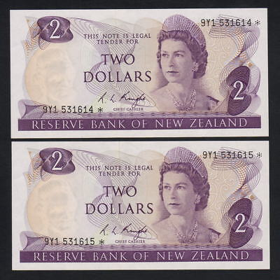 New Zealand  P-164cS. (1975) $2 - STAR Notes.. Prefix 9Y1..  aUNC - CONSEC Pair