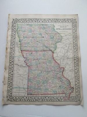 1871 ANTIQUE MAP OF IOWA AND MISSOURI by S. AUGUSTUS MITCHELL