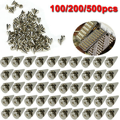 100-500 10mm Silver Spots Cone Screw Metal Studs Leathercraft Rivet Bullet Spike