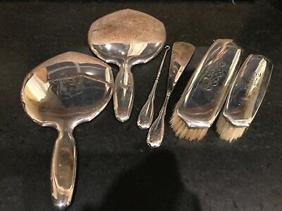 Lot of STERLING SILVER Estate Vanity Set , Mirror, Shoe Horn , Brushes & More