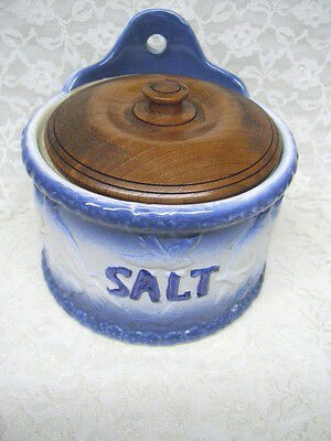 Antique Blue and White Salt Box with wood Lid